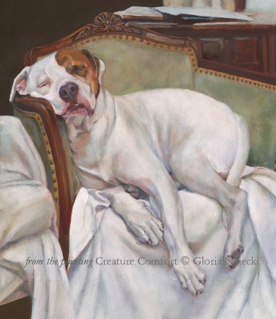 From the painting Creature Comfort by Gloria najecki of gloria paints dogs.  Trucker reclining in a chair
